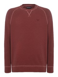Barbour Men's Garment Dyed Crew Neck Jumper Red