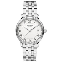 Montblanc 112632 Unisex Tradition Stainless Steel Bracelet Strap Watch Silver White