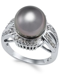 Macy's Cultured Tahitian Black Pearl 11Mm And Diamond 3 8 Ct. T.W. Statement Ring In 14K White Gold