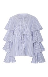 Caroline Constas Nina Ruffle Lace Up Jacket Stripe