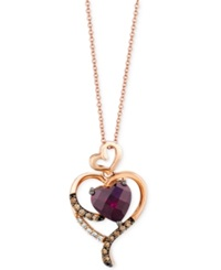 Le Vian Rhodolite Garnet 2 Ct. T.W. Diamond 1 10 Ct. T.W. And Chocolate Diamond Accent Heart Pendant Necklace In 14K Rose Gold