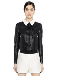 Valentino Contrasting Collar Nappa Leather Jacket