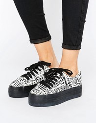 Sixty Seven Sixtyseven Flatform Laceup Trainer C9855 Doodle Black