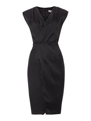 Untold V Neck Cross Over Drape Dress Black