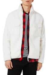 Topman Men's Borg Textured Fleece Jacket White