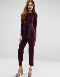 Asos Jumpsuit With Tie Front And Peg Leg Purple