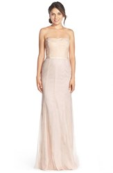 Women's Monique Lhuillier Bridesmaids Strapless Lace And Tulle Gown Blush