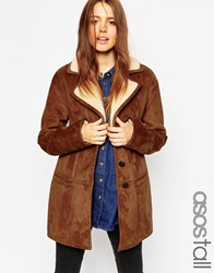 Asos Tall Coat In Faux Shearling With Panel Detail Tan