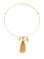 Bcbgeneration Charmed Choker Faux Pearl And Tassel Necklace Gold
