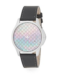 Gucci Diamond Grey Mother Of Pearl Stainless Steel And Leather Strap Watch Black