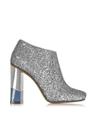 L'autre Chose Glitter Leather Low Boot W Avio And Mirror Heel Silver