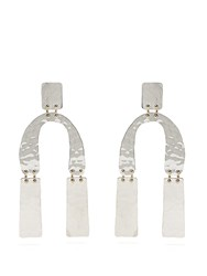 Proenza Schouler Abstract Shaped Hammered Drop Earrings Silver