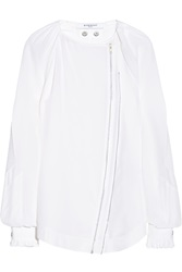 Givenchy White Silk Cady Blouse With Zip Front