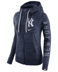 Nike Women's New York Yankees Gym Vintage Full Zip Hooded Sweatshirt Navy
