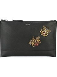 Rochas Embellished Zip Clutch Black