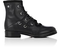 Proenza Schouler Women's Grommet Embellished Leather And Suede Combat Boots Black