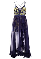 Three Floor New Flame Occasion Wear Navy Buttercup Yellow Dark Blue