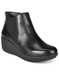 Easy Spirit Corby 2 Wedge Booties Women's Shoes Black Black Leather