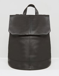 Asos Backpack In Black Leather Black