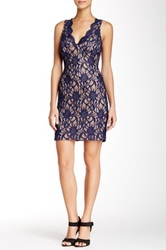 City Triangles Sleeveless Lace Sheath Homecoming Dress Blue