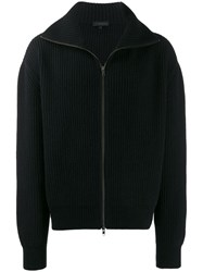 Ann Demeulemeester Zip Up Ribbed Cardigan Black