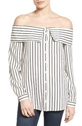 Pleione Women's Off The Shoulder Shirt White Black Stripe