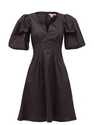 Brock Collection Puff Sleeve Cotton Blend Dress Black