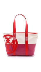 Tory Burch Small Dipped Beach Tote Natural Pink Red
