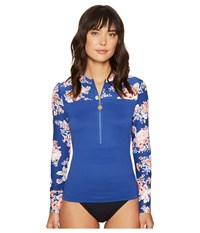 Seafolly Vintage Wildflower Long Sleeve Sunvest French Blue Women's Swimwear