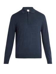 Paul Smith Fine Knit Wool Polo Shirt Navy