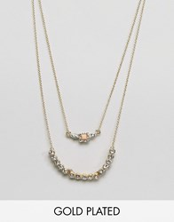 Johnny Loves Rosie Multi Layered Necklace Gold Pink