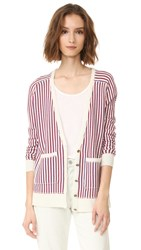 Raquel Allegra Deep V Cardigan Cream Stripe