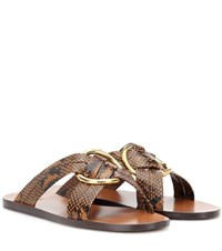 Chloe Rony Leather Slides Brown
