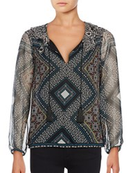 Ella Moss Printed Silk Peasant Blouse Black