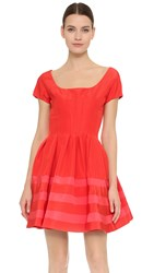 Zac Posen Short Sleeve Party Dress Coral Flamingo Pink