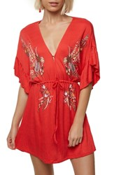 O'neill Mikhaela Keyhole Neck Dress Poppy Red