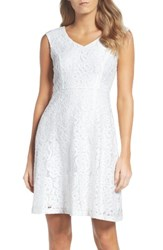 Ellen Tracy Women's Lace Fit And Flare Dress White