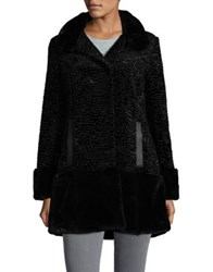 Jones New York Faux Fur Stand Collar Coat Black