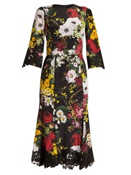 Dolce And Gabbana Floral Print Lace Trimmed Charmeuse Dress Black Multi