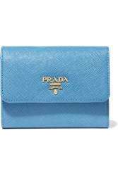 Prada Textured Leather Wallet Light Blue