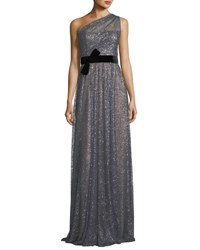 Marchesa One Shoulder Glitter Tulle Gown Gray