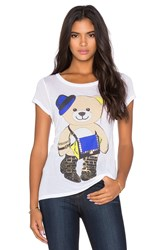 Lauren Moshi Amelie Foil Style Teddy Tee White