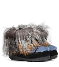Yves Salomon X Moon Boot Mink Fur Ankle Boots Multicoloured