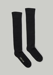 Rick Owens 'S Knee High Socks In Black Natural Size Medium Cotton Spandex Black Natural