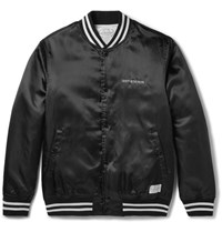 Neighborhood Embroidered Atin Bomber Jacket Black