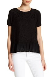 Gibson Short Sleeve Lace Front Peplum Blouse Petite Black