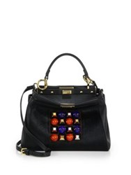 Fendi Peekaboo Mini Studded Leather And Mink Fur Satchel Black Multi