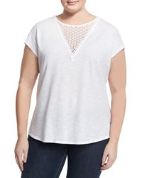 Vince Camuto Cotton Crochet Trimmed Top White