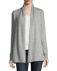 Neiman Marcus Cashmere Open Front Computer Cardigan Heather Grey