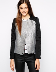 American Retro Magdalena Metallic Jacket With Contrast Sleeves Silver